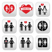 Couple breakup, divorce vector buttons set — Stock Vector