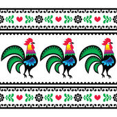 Seamless Polish folk art pattern with roosters - Wzory lowickie, Wycinanka — Stock Vector