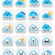 Cute cloud - Kawaii, Manga buttons with different expressions - happy, sad, angry — Stock Vector #49270305