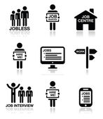 Unemployment, job searches vector icons set — Stock vektor
