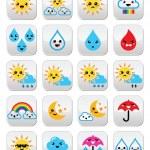 Cute sun, rainbow, moon, rain and cloud - Kawaii, Manga buttons — Stock Vector #49366935