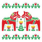Swedish Dala or Daleclarian horse folk art pattern — Stock Vector
