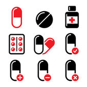 Pills, medication red and black vector icons set — Stock Vector