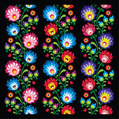 Seamless long Polish folk art pattern - wzory lowickie, wycinanka — Cтоковый вектор
