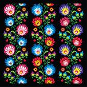 Seamless long Polish folk art pattern - wzory lowickie, wycinanka — Stock Vector