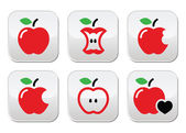 Red apple, apple core, bitten, half vector buttons — Stock Vector