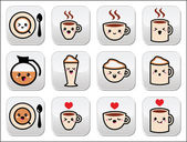 Cute coffee, cappuccino and espresso kawaii buttons set - vector — Stock Vector
