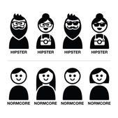 Hipster and normcore trend, style - man and woman icons — Stock Vector