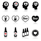 Man loving beer vector icons set — Stock Vector