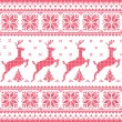 Winter, Christmas red seamless pixelated pattern with deer with trees — Stock Vector #49580323