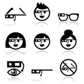 Google glass vector icons set — Stock Vector