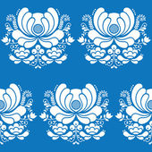Norwegian folk art seamless white pattern on blue background — Stock Vector
