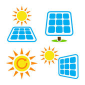 Solar panel - eco eergy pictogrammen instellen — Stockvector