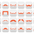 Ginger moustache or mustache vector buttons set — Stock Vector