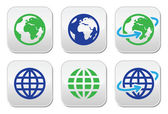 Globe earth vector buttons in color — Stock Vector