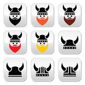 Viking warrior in helmet buttons set — Stock Vector