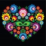 Polish, Slavic folk art art heart with flowers on black - wzory lowickie, wycinanka — Stock Vector #50156679