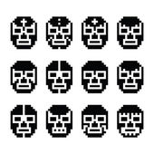 Lucha Libre, luchador pixelated Mexican wrestling masks black icons — Stock Vector