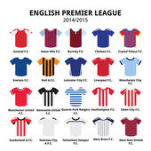 English Premier League 2014 - 2015 football or soccer jerseys icons set — Stock Vector