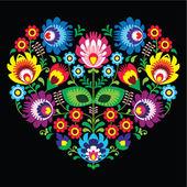 Polish, Slavic folk art art heart with flowers on black - wzory lowickie, wycinanka — Stock Vector