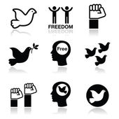 Freedom icons set - dove and fist symbols — Stock Vector