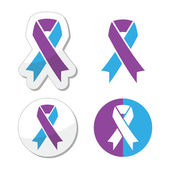 Purple and blue ribbon - pediatric strokes awareness — Vector de stock