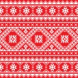 Постер, плакат: Ukrainian Slavic folk art knitted red and white embroidery pattern