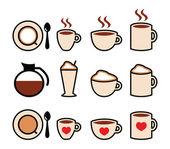 Icônes vectorielles café mis en couleur — Vecteur