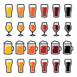 Beer glasses different types icons - lager, pilsner, ale, wheat beer, stout — Stock Vector #50291703