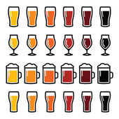 Beer glasses different types icons - lager, pilsner, ale, wheat beer, stout — Stock Vector