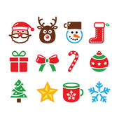 Christmas colorful icons set - Santa, present, tree, Rudolf — Stock Vector