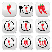 Red hot chili peppers buttons set — Stock Vector