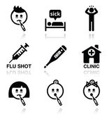 Cold, flu, sick people vector icons set — Stock Vector