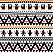 Halloween seamless pattern - tribal, Aztec print style — Stock Vector