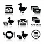 Фуа-гра, утка или гусь набор иконок — Cтоковый вектор #50405371