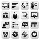 Website menu navigation black vector buttons set — Stock Vector