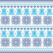ホッキョクグマと冬のクリスマス ネイビー ブルーのシームレスなピクセル化されたパターン — ストックベクタ