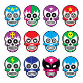 Lucha Libre - sugar skull masks icons — Stock Vector