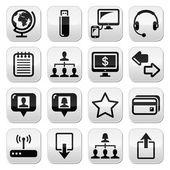 Web, pulsanti di semplice vettore nero di internet insieme — Vettoriale Stock
