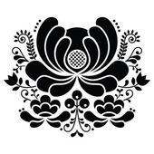 Norwegian folk art black and white pattern - Rosemaling style embroidery — Stock Vector