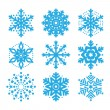 Snowflakes, winter blue vector icons set — Stock Vector