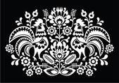 Polish folk art pattern roosters on black - Wzory Lowickie, Wycinanka — Stock Vector