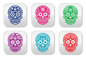 Mexican sugar skull, Dia de los Muertos colorful buttons set — Stock Vector
