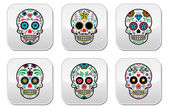 Mexican sugar skull, Dia de los Muertos buttons set on white background — Stock Vector