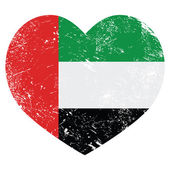 The United Arab Emirates retro heart shaped flag — Stock Vector