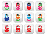 Russian doll, retro babushka vector colorful buttons set — Stock Vector