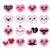 Kawaii hearts, Valentine's Day cute vector icons set — Stock Vector