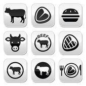 Beef meat, cow vector buttons set — Stock Vector