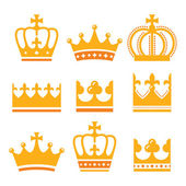 Crown, royal family gold icons set — Stock Vector