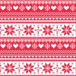 Nordic seamless knitted Christmas red heart pattern — Stock Vector #50883429